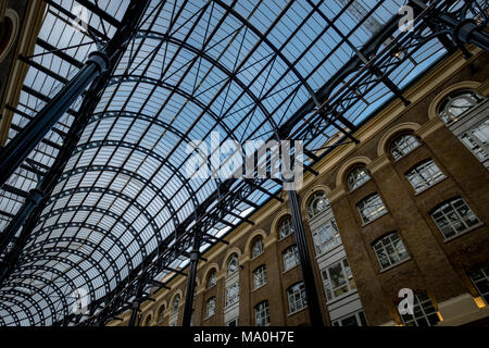 Glass ceiling at Hay's Galleria, mixed use building south of the River Thames at Southwark between London Brdige and Tower Bridge - Stock Photo
