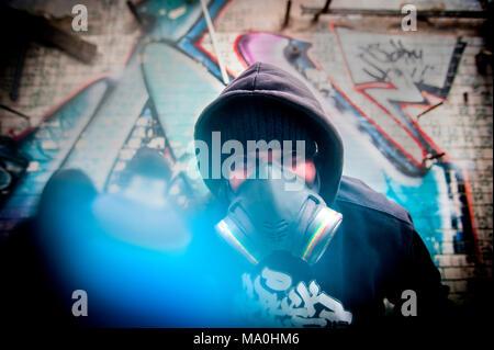 Graffiti Artist in Halle Saale, Germany. - Stock Photo