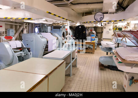 Interior pictures showing the laundrette of the Royal Yacht Britania, also known as Her Majesty's Yacht Britannia, which is the former royal yacht of  - Stock Photo
