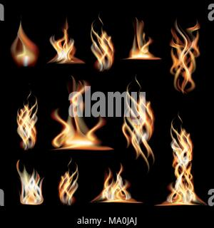 Realistic Burning Fire Flames Set. Vector Illustration. - Stock Photo