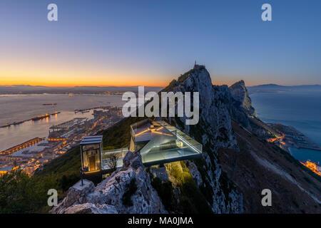 New Gibraltar Skywalk seen at Sunset - Stock Photo