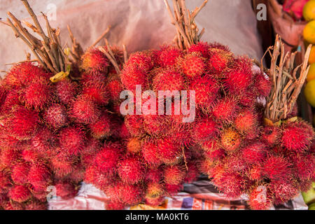 Rambutan or red hairy  lychee fruit - Stock Photo