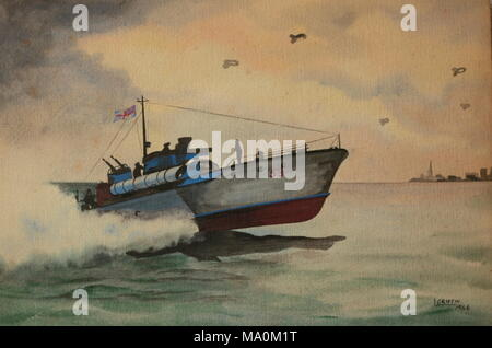AJAXNETPHOTO. 1946. LOCATION UNKNOWN. - WORLD WAR 2 MTB AT SPEED - MOTOR TORPEDO BOAT (MTB) 53 HEADS FOR THE COAST AS DAWN BREAKS UNDER A RAFT OF BARRAGE BALOONS IN THIS 1946 WATERCOLOUR BY L.GRIFFIN. ACCORDING TO ITS PENDANT NUMBER, HISTORICAL RECORDS INDICATE THE BOAT TO BE A THORNYCROFT 74FT TWIN SCREW TYPE. IT BEARS A REMARKABLE RESEMBLANCE TO THE VOSPER DESIGNED SERIES TWO TYPE WITH RAISED FOREDECK.