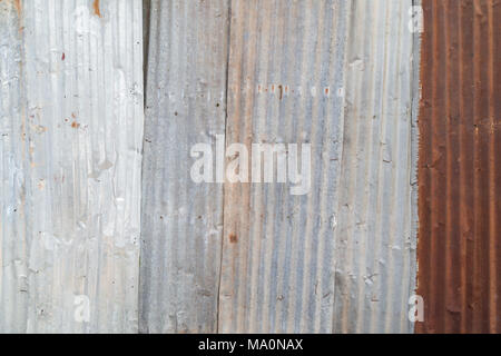 Rusty and corrugated iron metal construction site wall texture background. - Stock Photo