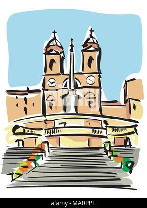 vector illustration of the famous Spanish Steps in Rome (Trinità dei Monti) - Stock Photo