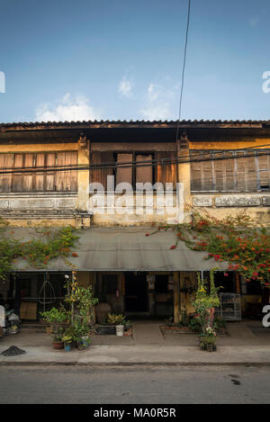 old french colonial architecture buildings in kampot downtown street cambodia - Stock Photo
