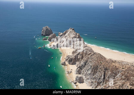 aerial photo of lands end in cabo san lucas mexico - Stock Photo
