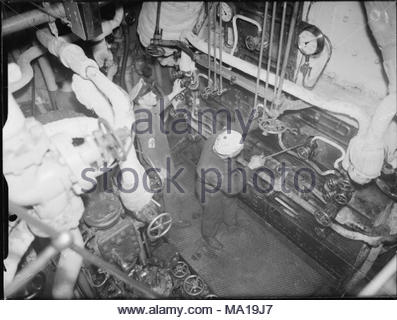Stokers in the boiler room on board HMT STELLA PEGASI, Scapa Flow, 6 ...