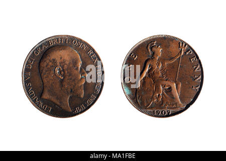 front and back of an old penny - Stock Photo