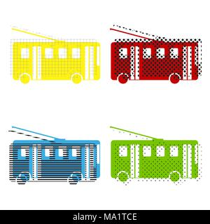 Trolleybus sign. Vector. Yellow, red, blue, green icons with their black texture at white background. - Stock Photo