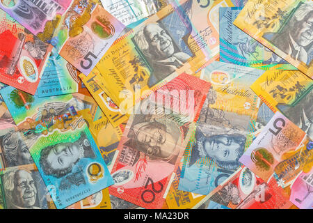 Australian banknotes background of dollars of Australia, AUD currency. Financial colorful background. - Stock Photo