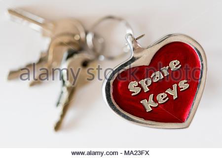 Spare Keys written on a key ring fob, UK - Stock Photo
