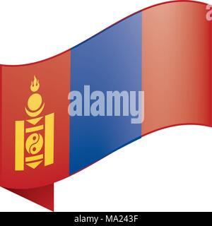 Mongolia flag, vector illustration - Stock Photo