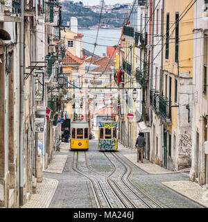 7 March 2018: Lisbon Portugal - The Bica Lift, or Elevador da Bica, in the Misericordia district, a funicular railway line. Here the two trams pass ea - Stock Photo