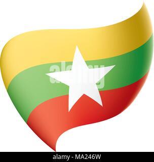 Myanmar flag, vector illustration - Stock Photo