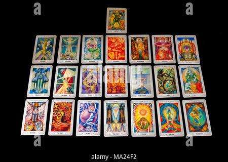 Major Arcana of the Crowley/Harris Thoth Tarot cards - Stock Photo