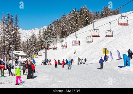 Aosta Valley Alps Italy Pila Ski Station Man Skiing Stock Photo