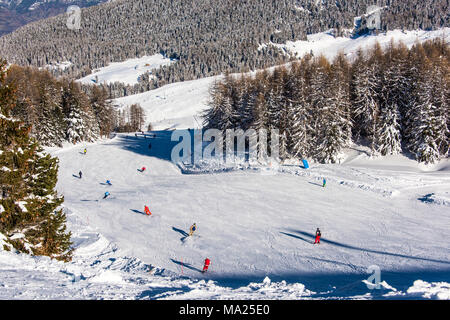 A ski piste in Pila ski resort, Aosta Valley, Italy - Stock Photo