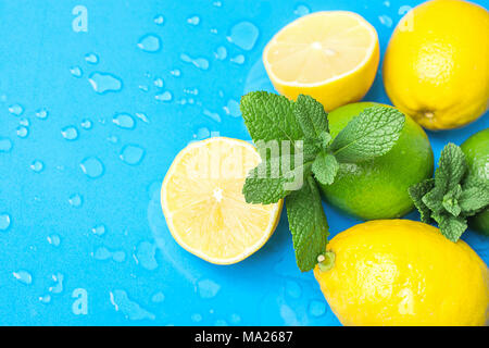 Ripe Organic Citrus Fruits Lemon Limes Whole and Halved with Fresh Mint on Light Blue Background with Water Drops. Morning Sunlight. Superfoods Vitami - Stock Photo