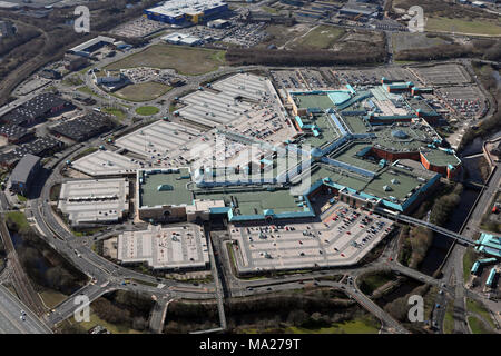 aerial view of Meadowhall Shopping Centre, Sheffield - Stock Photo