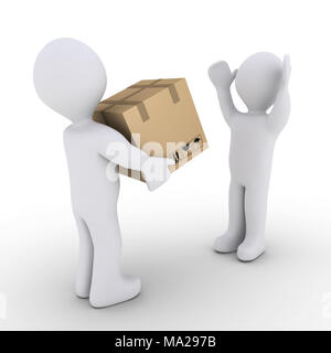 3d person holding a sealed carton box and another is happy - Stock Photo