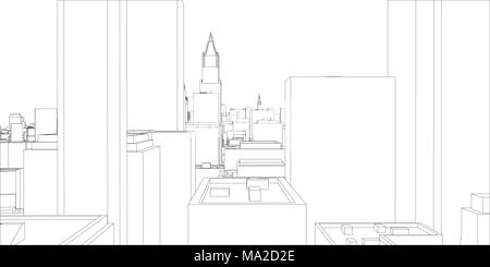 Wire frame new york city blueprint style 3d illustration wire frame new york city blueprint style 3d rendering architecture design background malvernweather Images