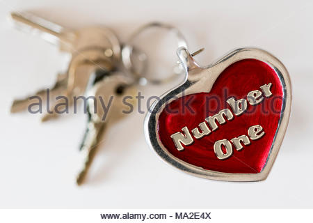 Number one written on a key ring fob, UK - Stock Photo