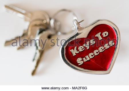 Keys to success written on a key ring fob, UK - Stock Photo