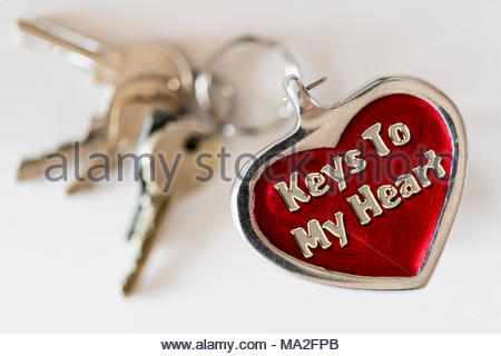 Keys to my heart written on a key ring fob, UK - Stock Photo