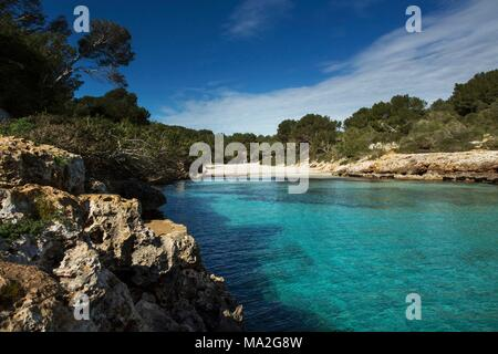 Cala Sa Nau Beach on the southern coast of Majorca - Stock Photo