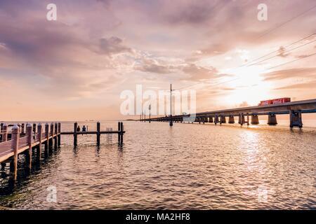 Marathon: Seven Mile Bridge from the pier of the Sunset Grille restaurant, Marathon, Keys, Florida - Stock Photo