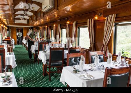 The buffet car in the luxury train Rovos Rail (journey from Durban to Pretoria, South Africa) - Stock Photo