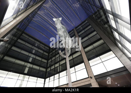 Leopard sculpture by Kelpies creator Andy Scott, which sits on a column in Marischal Square in Aberdeen, Scotland, UK - Stock Photo