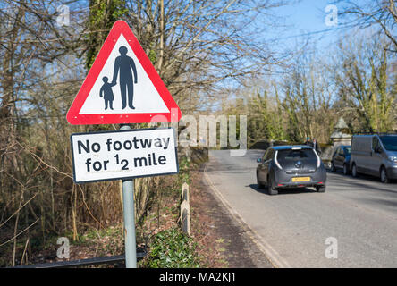 No Footway sign on a country road in the UK. No footpath sign. - Stock Photo