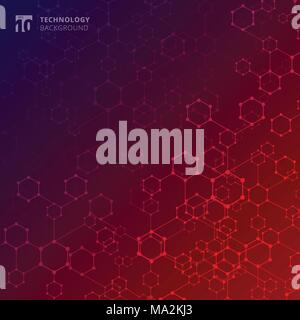 Abstract geometric technology hexagon with dots lines connection blue and red gradient background. DNA medical and molecules. Vector illustration - Stock Photo