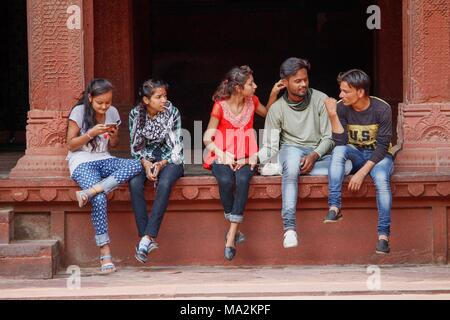 A group of young Indian people having nice time - Stock Photo