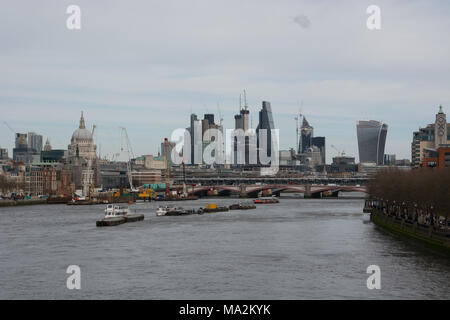 the View from Waterloo Bridge looking towards the skyline City of London with St Pauls on the left. - Stock Photo