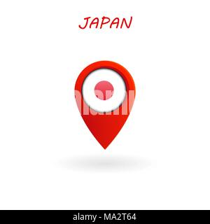Location Icon for Japan Flag, Vector, Illustration, Eps File - Stock Photo