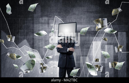 Businessman in suit with TV instead of head keeping arms crossed while standing against flying euros and analytical charts drawn on wall on background - Stock Photo