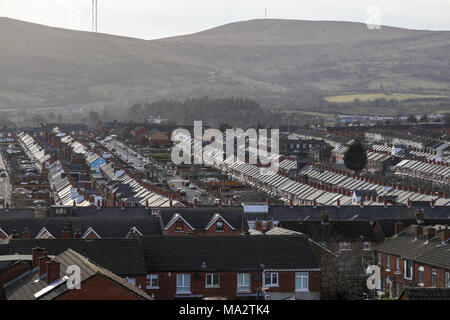 View of Ardoyne area of Belfast, mainly Catholic and Irish nationalist district in north Belfast, Northern Ireland. - Stock Photo