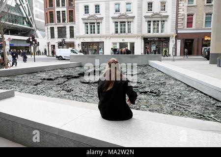 'Forgotten Streams' Walbrook sculpture by artist Cristina Iglesias at the Bloomberg European Headquarters building City of London UK   KATHY DEWITT - Stock Photo