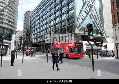 People walking past Walbrook Building and Cannon Street Station outside the new Bloomberg European Headquarters in City of London UK   KATHY DEWITT - Stock Photo