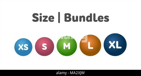Different size bundle icons set. Literal measurement symbol vector illustration. Labels from extra small to extra large. - Stock Photo