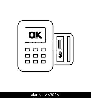 POS icon flat style simple vector illustration. Payment terminal. - Stock Photo