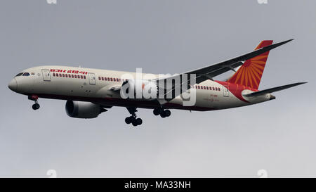 Air India Boeing 787 Dreamline arriving at London Heathrow Airport - Stock Photo