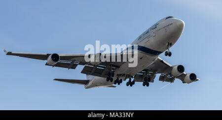 EL-Al Boeing 747 landing at London Heathrow Airport - Stock Photo