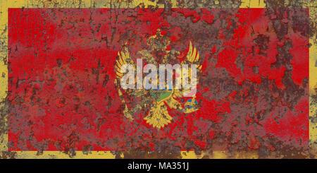 Old Montenegro grunge background flag - Stock Photo