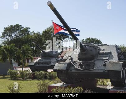 Two tanks stand in Playa Giron (south coast) in front of the Revolution Museum, which traces the CIA-driven invasion of exiled Cubans and US mercenaries in April 1961 in the Bay of Pigs. (23 November 2017) | usage worldwide - Stock Photo