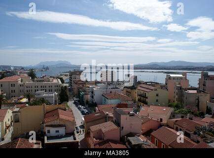 View of Olbia city and the Gulf of Olbia, Sardinia, Italy - Stock Photo