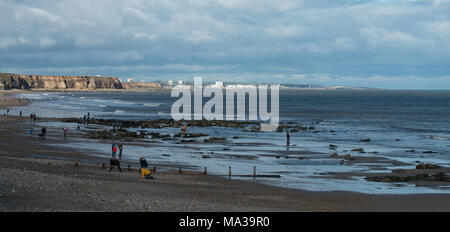 View along Seaham beach with Sunderland in the background - Stock Photo